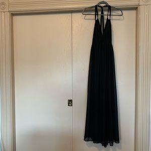 H&M Black Chiffon Braided Strap Back Maxi Dress